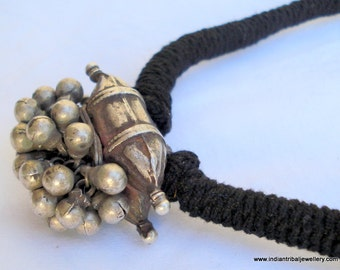 vintage Antique tribal old silver Pendant necklace from Rajasthan India