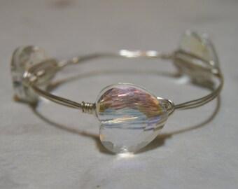 AB Crystal Heart Bangle, AB Crystal Bangle, Crystal Bangle, Heart Bangle, Valentine's Bangle, Crystal Bracelet, Heart Bracelet