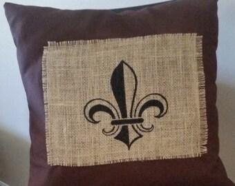 Decorative Pillow, Burlap, Linen Pillow, New Orleans Decor, Fleur de lis, Cushion, Decoration,Couch Decorative Pillow,Bed Decorative Pillow