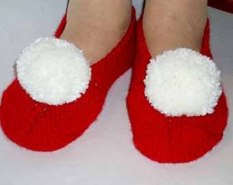 Slippers for Women. Hand Knitted. Wool / Acrylic.