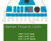 R2D2 Applique Star Wars Applique Robot Embroidery Design (3 sizes) / Robot Applique Star Wars