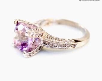Gemstone Ring - Amethyst ring - Silver statement ring - Silver amethyst ring - Silver gemstone ring - Birthstone ring
