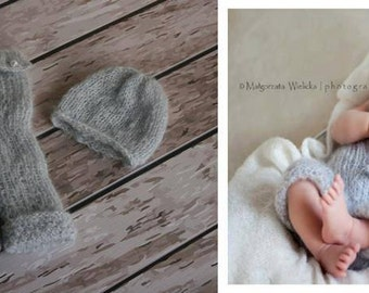 Newborn knit hat and pants,Grey Mohair set for newborn  , photo props ,newborn knit hat and trousers,romper and hat,