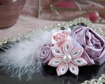 Feather bridal hair clip, bridal hairpiece, feather bridal comb, bridesmaid hair clip, wedding hair accessories, pink bridal comb