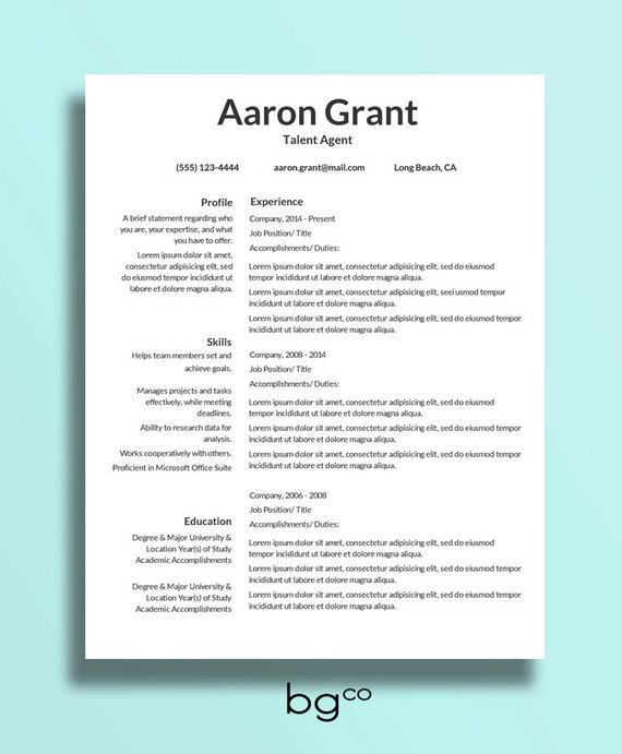 Simple Basic Resume Template Download: Simple Resume Template Instant Download Clean Resume Basic
