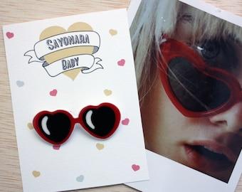 Lolita Brooch Heart Sunglasses Shrink Plastic