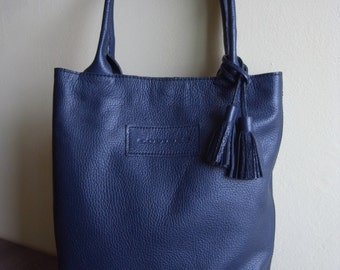Leather bag blue color