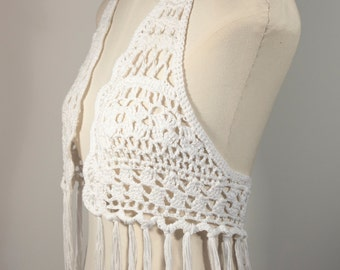 Gehaakt topje met franjes, Croched Top with Fringes, Bohemian, Festival
