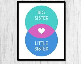 Big Sister Little Sister Print Digital Download Big Sister Art Little Sister Art Sister Art Instant Download Little Sister Print Big Sister
