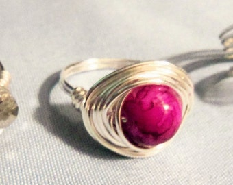 Silver Wire Wrapped Marbled Glass Ring