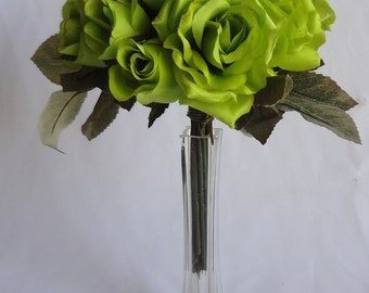 "13"" Apple Green  Rose Bouquet - 18 Silk Rose Flowers ( Pack of 2 )"