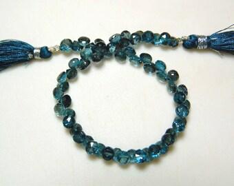London Blue Topaz Beads, Blue Topaz Onion Briolettes, Faceted Beads, 7mm Beads, 8 Inch Strand, SKU-DSCN5793