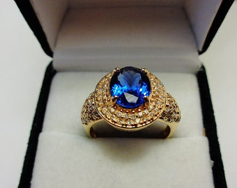 D Block Tanzanite in a 14kt. Gold Ring with Diamonds.