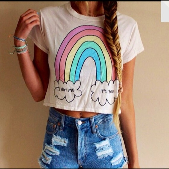 Its not me it's you Rainbow  Graphic Print Crop top Tee -  Cute Crop Tops, S M L XL
