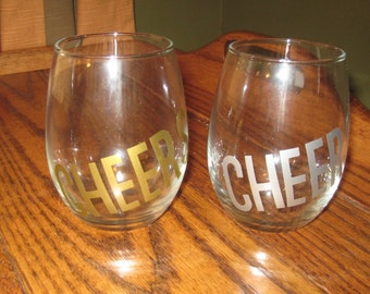 Stemless Cheers wine glass