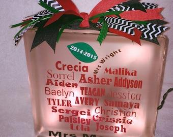 Teacher Appreciation Lighted Glass Block