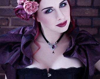 Burgundy taffeta bolero /shrug-Gothic bolero-gothic shrug-ruffle bolero-Costume accessories
