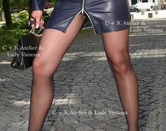 C+K Leatherskirt with metal zipper, super shiny, stretchable, new handmade