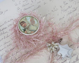 6 yards Pink Tinsel Glitter Eyelash Twine Trim, Yay!  More Stock In! Wood Spool, Christmas, Craft, Decor, Wrap, Knit, Yarn