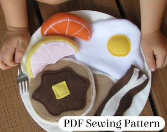 Breakfast Pattern - PDF Sewing Pattern - Fleece Food Breakfast - Felt Food Breakfast - Pretend Food - Play Food
