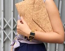 SAHARA// Cork Handbag Messenger party Bag Purse Minimalist Clutch Handcrafted natural material goods