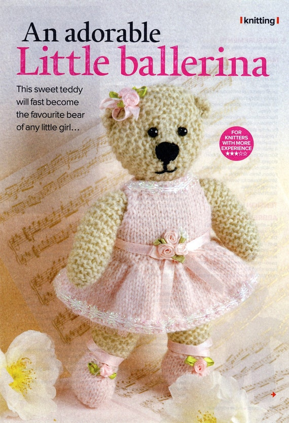 Yours Magazine Knitting Patterns : Sweet Knitted BALLERINA Toy BEAR Knitting Pattern from Yours