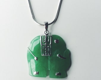 Elephant jade pendant decorated with silver pattern, Chinese jade jewelry, jade-silver pendant