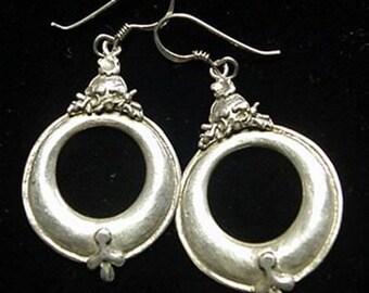 Silver 925 Drop Hoop Earrings