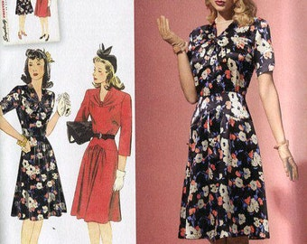 FREE US SHIP Simplicity 1587 Retro 1940s Vintage Dress Reproduction Old Store Stock Uncut Size 6/14 14/22 Bust 30-44 Plus
