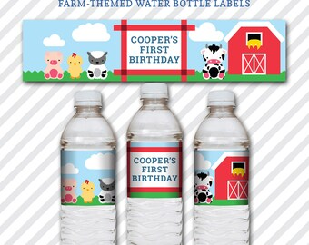 Barnyard Birthday Water Bottle Labels - Kid's Birthday Theme On the Farm and Barn Animals - Blue & Red Rustic Cowboy DIY Customized Labels
