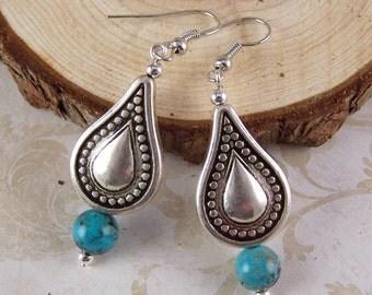 Turquoise Earrings - Turquoise Teardrop Earrings - Turquoise Dangle Earrings - Boho Earrings Jewelry - Turquoise Jewelry - Bohemian Jewelry