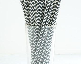 25 Chevron Stripe Black and White Straws