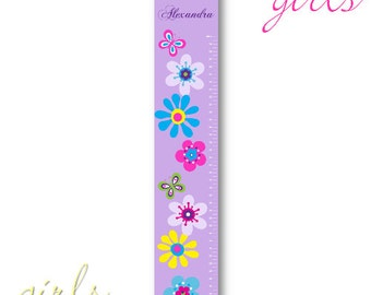 Personalized Girls Growth / Height Chart - Lilac Blooms