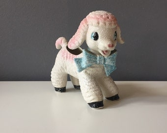 Vintage Mid Century Modern Baby Lamb Planter with Blue Bow and Flocked Look