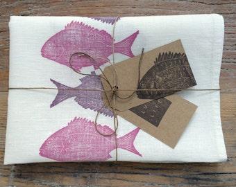 """100% Linen """"Mallacoota Bream"""" Hand Printed Purple Fish Luxury Kitchen Tea Towel"""