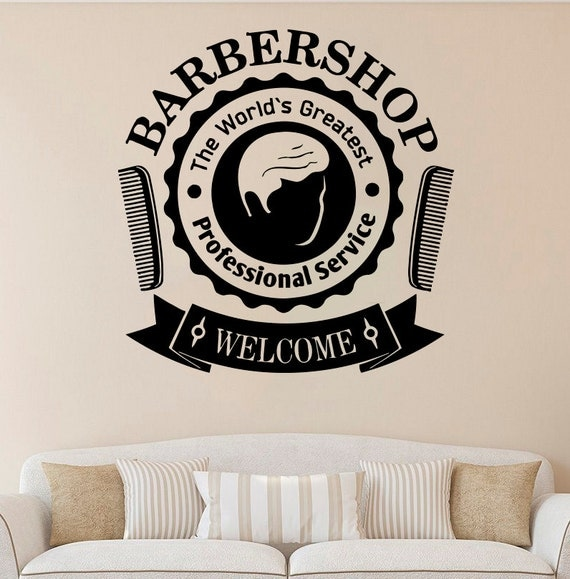 barber shop vinyl sticker barber shop wall decal salon vinyl shop hours vinyl wall decal quote welcome personalized
