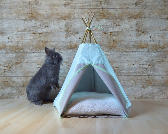 lit lapin tipi chaton motif toile menthe gris lit furret. Black Bedroom Furniture Sets. Home Design Ideas