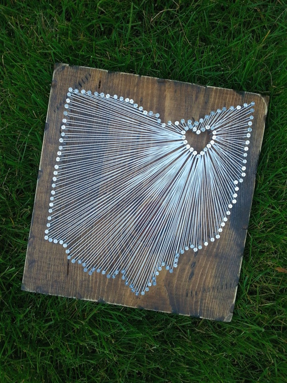 Ohio String Art, State string Art, Ohio Nail Art, Ohio Decor, Rustic Wood Wall Art, custom sign, Ohio Love, Ohio Home, 12x12