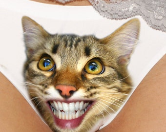 Beware of cat bites! Funny Kitty panties., cat underwear, cat face, gift for her sweet gift idea.