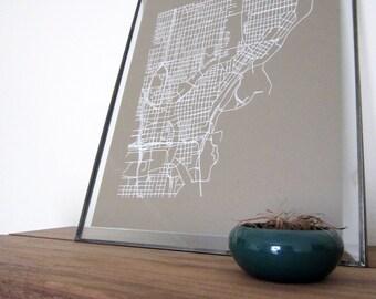 Milwaukee Street Grid Map - White on Sable Brown