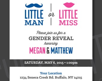 Little Man or Miss Gender Reveal Invitation, Mustache or Lips Gender Reveal Invite, Customized, Printable