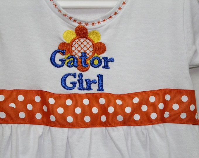 Florida Gator Girl dress, toddler gator girl dress, t shirt dress embroidered, orange and blue dress, UF baby dress