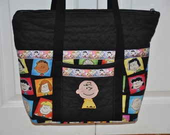 OOAK Peanuts Characters Fabric, Charlie Brown, Snoopy Embroidered Quilted Handbag, Shoulder Bag, Tote Bag