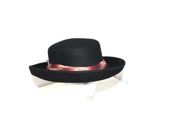 Vintage Womens Hat Crushable Wide brim Fedora Hat- Wool Felt Hat-Floppy Fedora- Women's Fedora