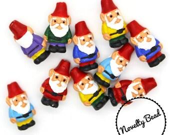 10 - Small - Gnome Beads - Garden Gnome - Red Cap Gnome - Novelty - Ceramic