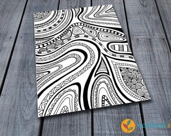 Doodle Adult Colouring Page, Printable Pattern Colouring Pages Zen Doodle Art