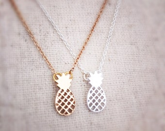 Pineapple necklace, gold necklace, silver necklace, dainty necklace, chain necklace, layered necklace, necklace