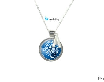 Winter Snowflake Necklace Winter Blue Necklace Winter White Pendant Blue Winter Necklace Winter Tree Pendant Winter Tree Necklace Jewelry