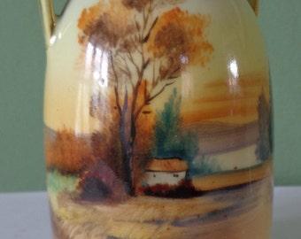 Beautiful Vintage Noritake Lake Scene Urn Style Vase 1920's, With Good Clear Noritake Pottery Mark, Lake, House And Tree Scene