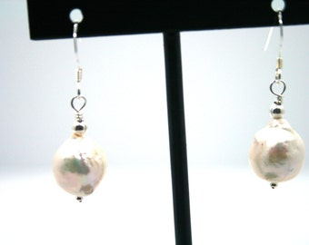 Fresh Water Pearl Earrings,Sterling Silver Pearl Earrings,925 Pearl earrings,Baroque Pearl Earrings,Sterling Silver Pearl Earrings,